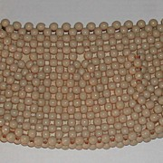 c.1950s Beaded Lamprom Beige Clutch Purse Handbag