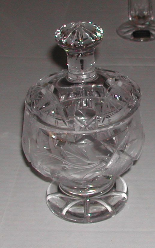 c.1980s Crystal Glass Jam Jar Mustard Pot