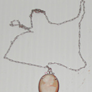 Vintage 1940 Cameo Necklace Sterling Silver Setting