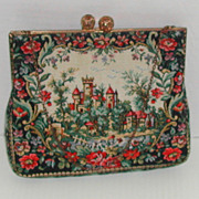 Vintage c.1960 Tapestry Purse Handbag France