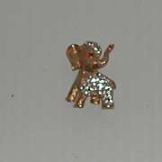 Vintage c.1960s Rhinestone Elephant Pin Brooch Gold Colored