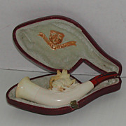 Antique Meerschaum Stag Petite Pipe Original Case