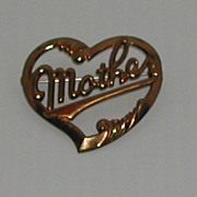 Vintage c.1940s Mother Heart Brass Pin Brooch