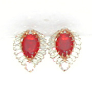Vintage Rhinestone Red & Clear Lg Earrings