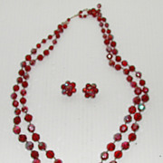 Vintage 1960s Auroa Borealis Red Faceted Dble Strand Necklace Set