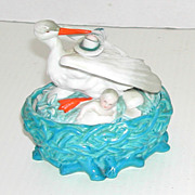 Antique.c1900 KPM German Porcelain Stork in Nest w/ Babies Nesting Dish