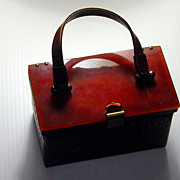 Vintage c.1950s Lucite Lid & Alligator  Purse Handbag