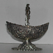 Art Nouveau  Repousse Silver Metal Basket w/ Handle