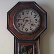 Vintage Regulator Wall Key Wind Clock