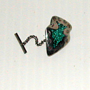Vintage Turquoise Silver Arrowhead Tie Tac  Marked w/ B
