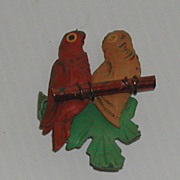 Vintage c. 1940s Leather Bird Parrot Pin Jewelry