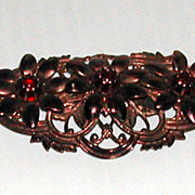 Vintage c. 1940s Metal Open Work Red Stones Brooch Pin