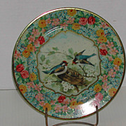Vintage Daher Decorated Ware Blue Bird Tin Plate