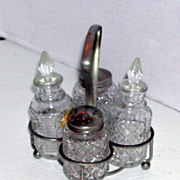 Vintage mid century Glass Cruet Set England