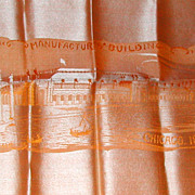 1893 Chicago Columbia Exposition Worlds Fair Silk Scarf Souvenir