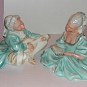 1975 Universal Statuary Chalkware 17th Century Man & Woman Lg Figures