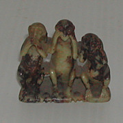 Vintage Soapstone Hear Speak See No Evil Carved Monkeys