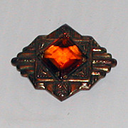 Art Deco Brass & Amber Glass Stone Brooch Pin Jewelry