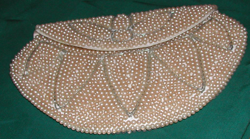 Vintage c.1950s  Beaded Evening Bag Purse Simulated Pearls Tag