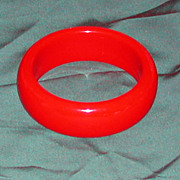 Vintage Red Bakelite Wide Bangle Bracelet