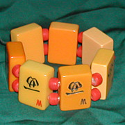 Vintage Mahjong  Pieces Butterscotch Bakelite Bracelet