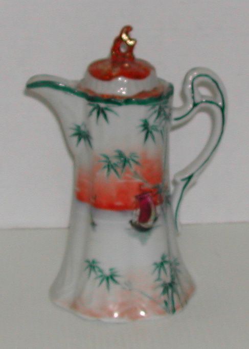 Vintage c. 1920s Chocolate Pot Oriental Palms Boat Porcelain