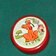SOLD Vintage c. 1940s Red Bakelite Disney's Pluto Pencil Sharpener
