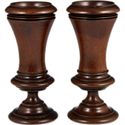 Wonderful Pair of 19th Century Turned Mahogany Spill Holders
