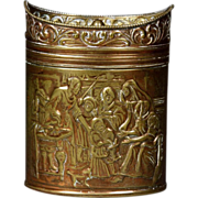 Fine 19th Century Dutch Embossed Brass Tea Caddy
