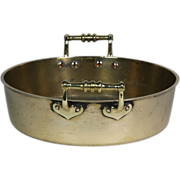 Circa 1780 Two Handled Heavy Brass Kitchen Pan