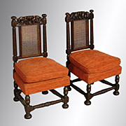 SALE Pair of Boudoir Carved Chairs