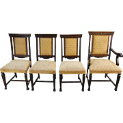SALE Set of Four Oak Carved Dining Chairs