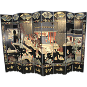 Black Oriental 8-panel Illustrated Screen Room Divider