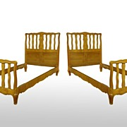 Pair of Twin Cherry Chippendale Style Beds