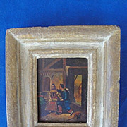 REDUCED Early 19th Century Small Gilt Framed Painting on Tin