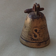 Vintage Brass Sheep Bell Monogrammed S