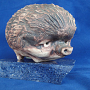 SOLD Vintage Chelsea Pottery Hedgehog Coin bank 1950s England Signed