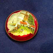 Vintage Victorian Convex Glass and Brass Pin Dutch Scene Brooch