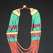 REDUCED Vintage Coral, Turquoise and Ox Bone 8 Strand Necklace