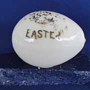 REDUCED Antique Victorian Hand Blown Milk Glass Easter Eggs Hand Painted 1900's