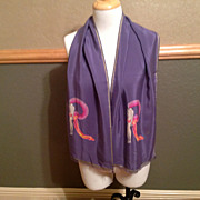 "Vintage Silk Erte Scarf 12"" by 54 1/2"" Lavender, Gold, and Pink"