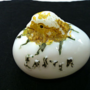 SOLD Vintage Hatching Chick Milk Glass 1899 Embossed Easter