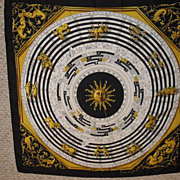 SOLD Authentic Vintage Hermes Silk Scarf DIES ET HORE Zodiac Astrology Black and Gold