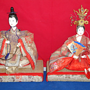 SOLD Antique Japanese Emperor and  Empress Dolls, 19th Century Samurai, Geisha