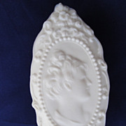 REDUCED Fostoria Jenny Lind Milk Glass Cameo Jewel Box Original Labels