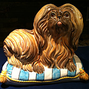 SALE Vintage Italian Large Majolica Pekingese Dog Mid 20th Century