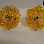 SALE 1930s Pair of Vintage Medium Amber Color Glass Curtain Tiebacks