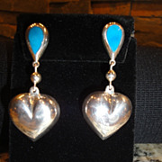 SALE Vintage Sterling  & Turquoise Puff Heart Earrings Marked .925