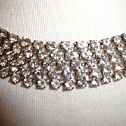 SOLD Vintage Clear Rhinestone Necklace Set In Silver-Tone Finish Prong Set