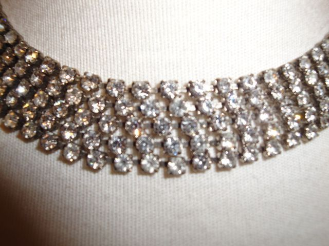 Vintage Clear Rhinestone Necklace Set In Silver-Tone Finish Prong Set
